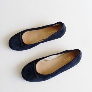 Vero Cuoio Women's Suede Navy Blue Flats Size 36